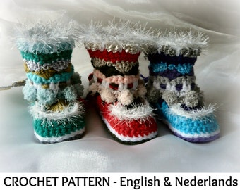 English + Dutch Pattern - Indian / Mukluk Baby Boots 6-24 months