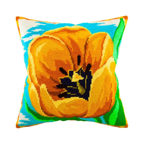 Modern Cross Stitch Pillow : Cross Stitch Kit Yellow Tulip Pillow Size 16x16