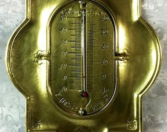 Vintage Brass Thermometer Celsius Farhrenheit Reaumur