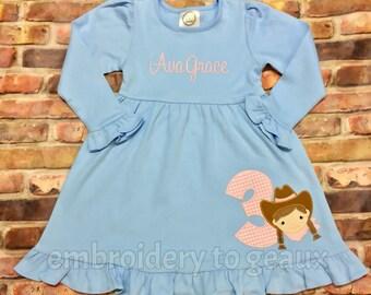 Cowgirl Birthday Dress, Cowgirl Birthday Outfit, Girls Birthday Outfit, Girls Western Birthday Dress, Girls Birthday Dress, Cowgirl Shirt