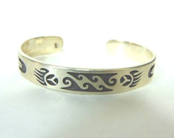 Vintage Estate Sterling Silver Native American Design Cuff Bracelet 25.8g E756
