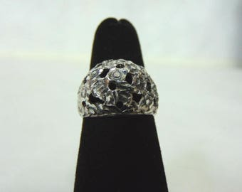 Womens Victorian Style Sterling Silver Filigree Ring 5.1g E3068