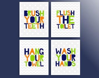 Boy bathroom wall art prints bathroom rules kids bathroom signs printable bathroom decor bathroom digital art prints (cc067)(001BATH810)