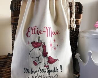 Personalised Unicorn Birthday Gift Bag - Cotton Drawstring Bag Various Sizes Available Ellie-Mae Design