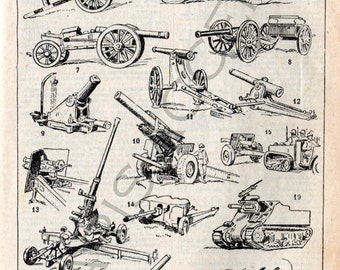 Instant digital download of 'Artillerie' Artillery,from 'Nouveau Petit Larousse Illustré,a French Encyclopedia.Useful teaching aid,Date 1952