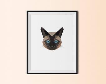 Siamese Cat | Siamese Cat Art Print | Siamese Cat Custom Print | Siamese Cat Geometric Art | Custom Cat Portrait