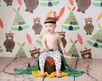 Summer Photography Backdrop for Boys, Newborn Photography Backdrop, Vinyl Photography Backdrop, Baby Photography Background Tribal SMR196