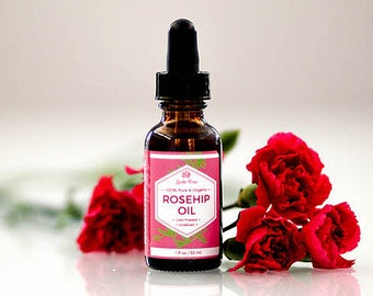 ROSEHIP SEED OIL by Leven Rose - 100% Organic Cold Pressed Pure Unrefined Rosehip Seed Oil for Face, Hair, Skin, Eye Serum - 1 Oz