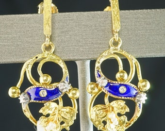 Diamond Blue Enamel Seed Pearl  Yellow 18K Gold Ivy Leave Vintage Dangle Earrings