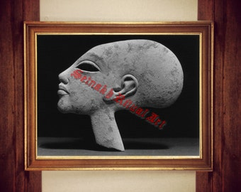 Egyptian print, Amenophis, Egyptian art, Ancient Aliens, long head, UFO poster, home decor, Satanic wallart #438