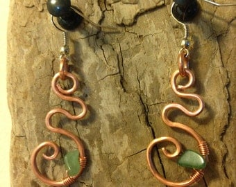 Handmade Jade and Recycled Copper Earrings