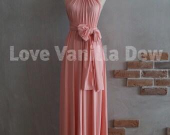Bridesmaid Dress Infinity Dress Peach Pink Floor Length Maxi Wrap Convertible Dress Wedding Dress