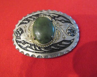 Vintage Belt Buckle with large green stone