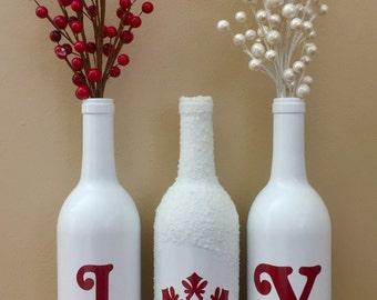 Christmas Decorations, Snow Wine Bottles, Joy Wine Bottles, Christmas Joy Wine Bottles, Joy, Christmas Wine Bottles