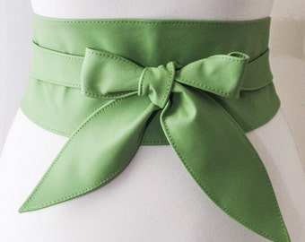 SALE Bright Green Leather Obi Belt tulip tie | Plus Size Belt | Waist Corset Belt | Leather wrap Belt | waist cincher belt