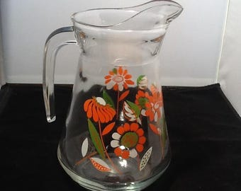 "8 1/2"" Glass Juice Pitcher Orange And Green Flowers"