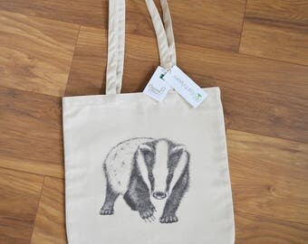 Luxury Badger tote bag. Badger artwork printed on high quality tote. Eco organic cotton tote. Unique badger artwork tote. Heavy duty tote.
