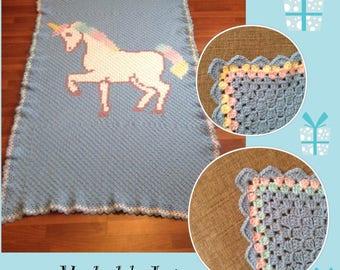 Crocheted Unicorn blanket