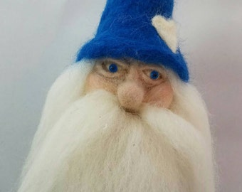 "OOAK Gnome - 7"" Needle Felted Wool Art Doll"