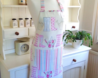 Wellies Apron, Watering Can Apron, Ladies' Apron, Full Apron, Adjustable Apron