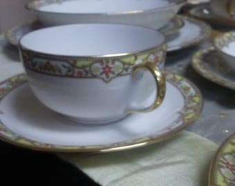 1920s LIMOGES France Fine China Vignaud Pattern. 60 Piece Set. J L Hudsons Detroit. Gold Mini Flower Detail. Fine China of France