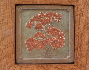 Framed Oak Tree tile /Arts and Crafts style for decor or gifts Housewarming or Wedding Gift tile