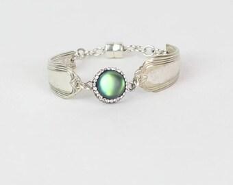 Moonstone Bracelet- Gemstone Bracelet -June Birthstone - Silverware Jewelry - Bridesmaid Gift - Spoon Bracelet - Silver Bracelet - Gift