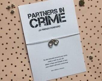 Partners in crime wish bracelet, friends forever wish bracelet, handcuffs bracelet, best friends charm bracelet, pocket money gift