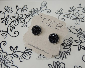 Black gem earrings