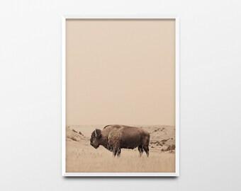Bison Print, Animal Art, Animal Print, Animal Wall Art, Bison Art, Bison Wall Art, Minimalist Print, Woodland Animals, Woodland Nursery