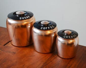 Vintage Kromex rose colored copper canisters - including rare grease jar - circa 1950s, mid century kitchen