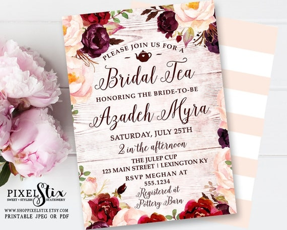 Bohemian Floral Bridal Tea Invitation, Weathered Wood Bridal Shower Invite, Vintage Rustic Wedding, Autumn Brunch, Marsala Peach Burgundy