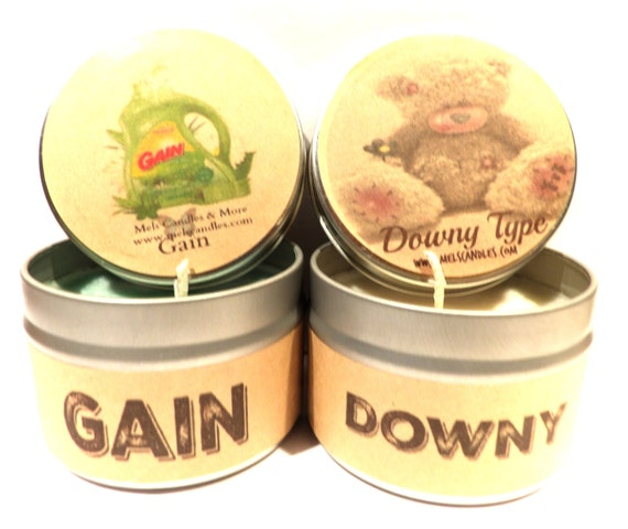 Gain And Downy Types Set Of Two 4 Ounce Soy Tin Candles