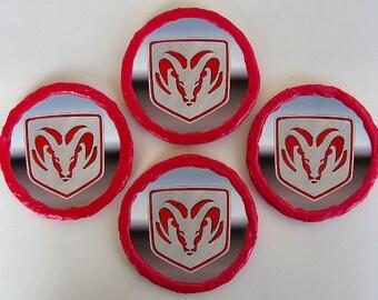 NEW! Handmade Dodge Ram Coasters - Hand Painted  - OOAK - Set Of 4