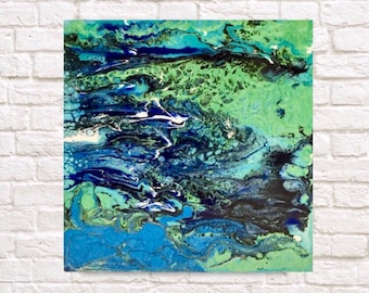 "Original fluid abstract painting blue sea foam teal sea contemporary art ""wander"""