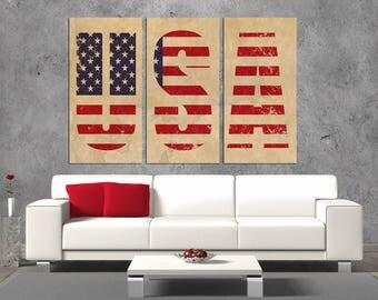 3 Panel Split  canvas,USA American flag Wall Art, USA flag Canvas Print. wall art,art for living room, home decor, interior design, wall art