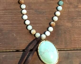 Amazonite Necklace with Turquoise Pendant