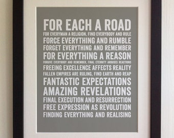 FRAMED Lyrics Print - Ian Brown, Fear - 20 Colours options, Black/White Frame, Wedding, Anniversary, Valentines, Fab Picture Gift