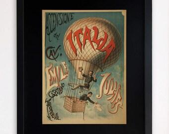 """LARGE 20""""x16"""" FRAMED Advertising Print, Black or White Frame/Mount, Italian Hot Air Balloon"""