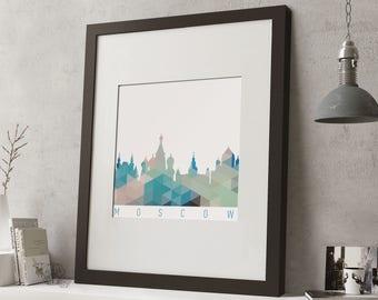 "FRAMED Geometric Moscow Print, 12""x10"" Black or White Frame, Modern Art"