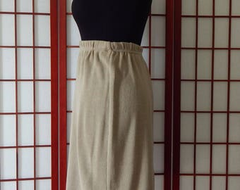 Vtg Hattie Carnegie Skirt Small Brown Casual Straight Pencil Stretch USA Made Sweats 1950's (R7-105)