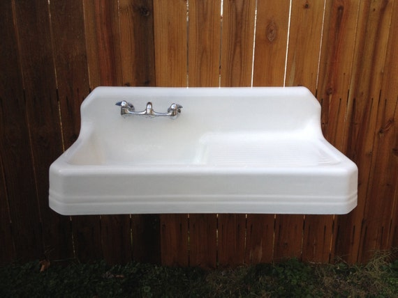 Antique Richmond Farm Sink Drainboard Highback By