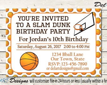 Basketball Birthday Invitation, For Teens or Kids, Printable Digital file, Invite or Save the date, JPG or PDF, 4 x 6 or 5 x 7 or other