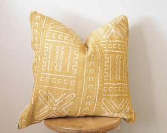 African Mudcloth Pillow Cover - Mustard Color