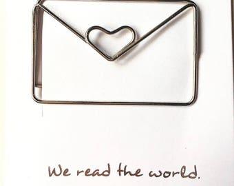 Heart envelope paper clip
