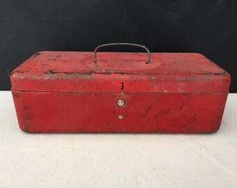 Tool Box - Vintage Small Metal Red Toolbox - Storage Box - Tool Box - Display - Prop - Repurpose Box - Tackle Box - Red Metal Box