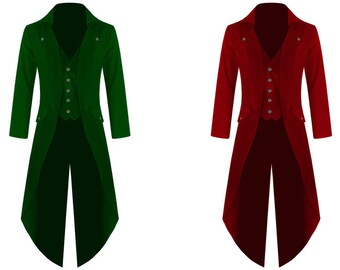 GREEN/BURGUNDY Mens Steampunk Tailcoat Jacket Gothic Victorian Coat