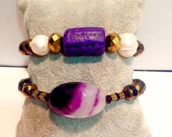 African lilac ceramic bracelet