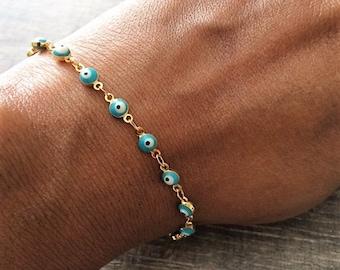 Evil Eye Bracelet, Lucky Charm Bracelet, Beaded Bracelet, Boho Bracelet,Mothers Day Gift