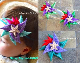 1 Ariel Inspired Hair Bow, Ariel Hair Bow, Ariel Starfish, Ariel Headband, Ariel Hair Clip, Baby Mermaid Props Headband, Little Mermaid Clip